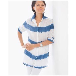 Chico's Tie-dye striped shirt in blue